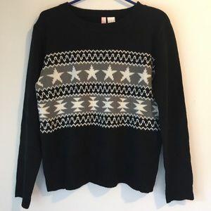Confess Star Black White Gray Sweater, L